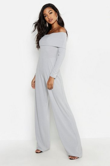Womens Grey marl Jumbo Rib Bardot Wide Leg Jumpsuit