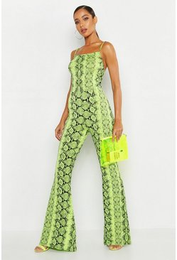 Lime Neon Snake Flare Jumpsuit