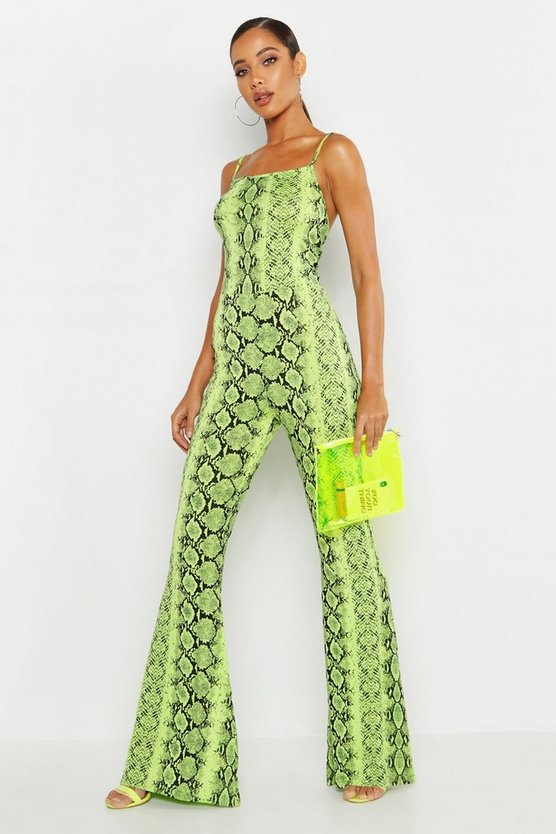 Womens Lime Neon Snake Flare Jumpsuit