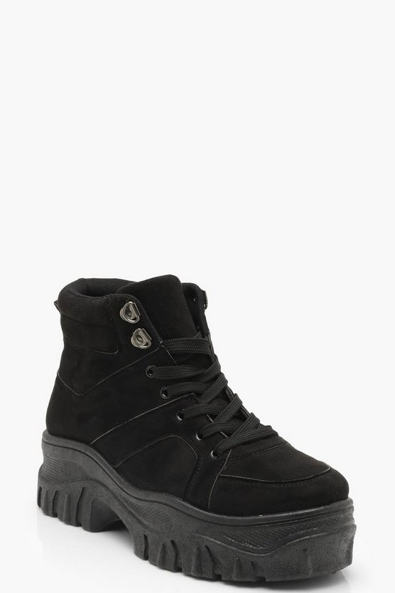 Womens Black Lace Up Chunky High Top Trainers
