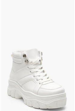 Womens White Lace Up Chunky High Top Sneakers