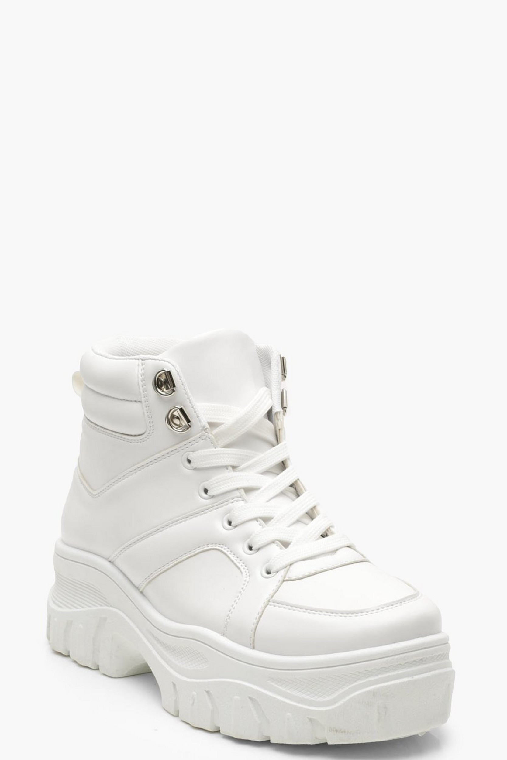 Lace Up Chunky High Top Sneakers by Boohoo