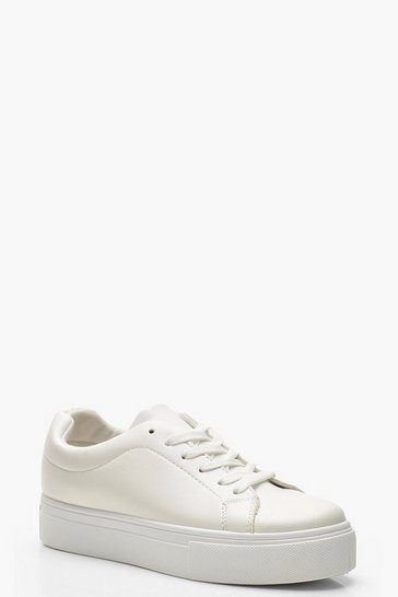 Womens White Lace Up Platform Trainers