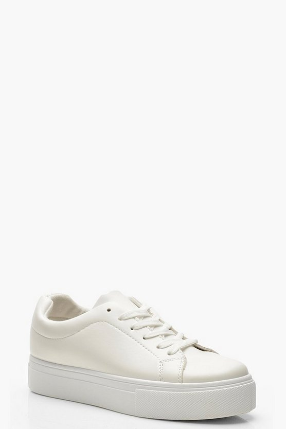Womens White Lace Up Platform Sneakers