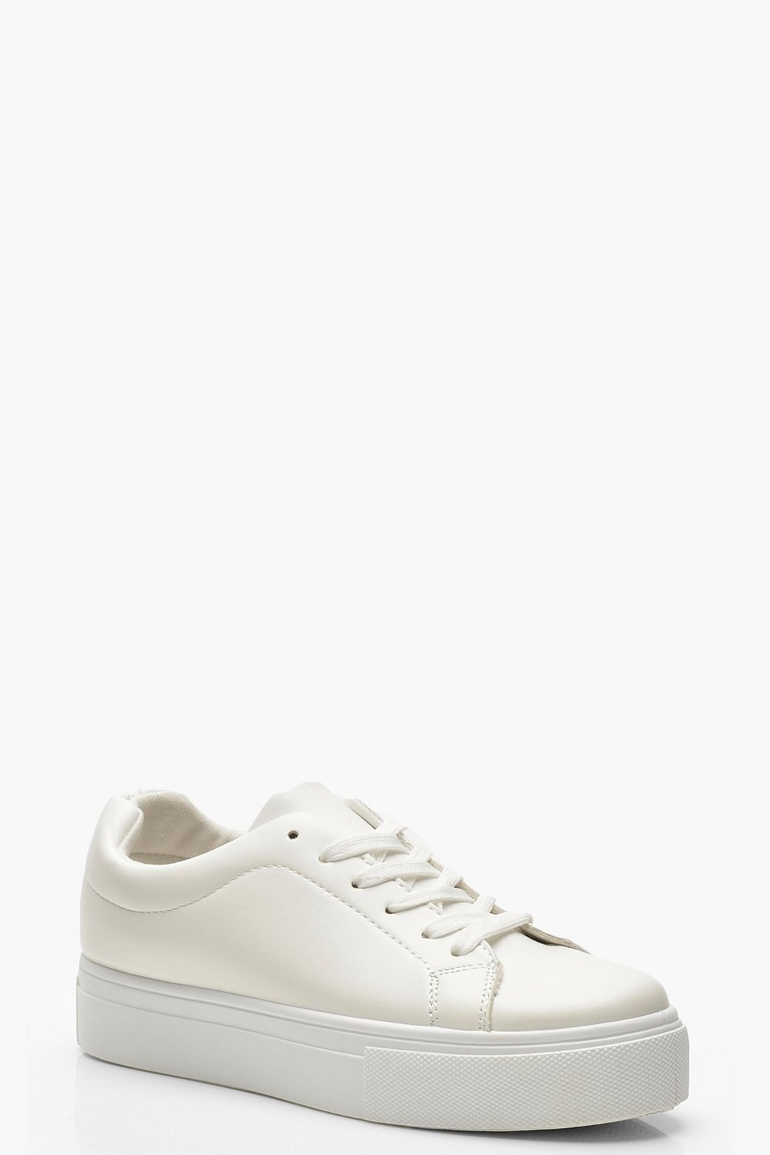 Lace Up Platform Trainers by Boohoo