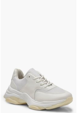 Womens White Chunky Sole Lace Up Sneakers