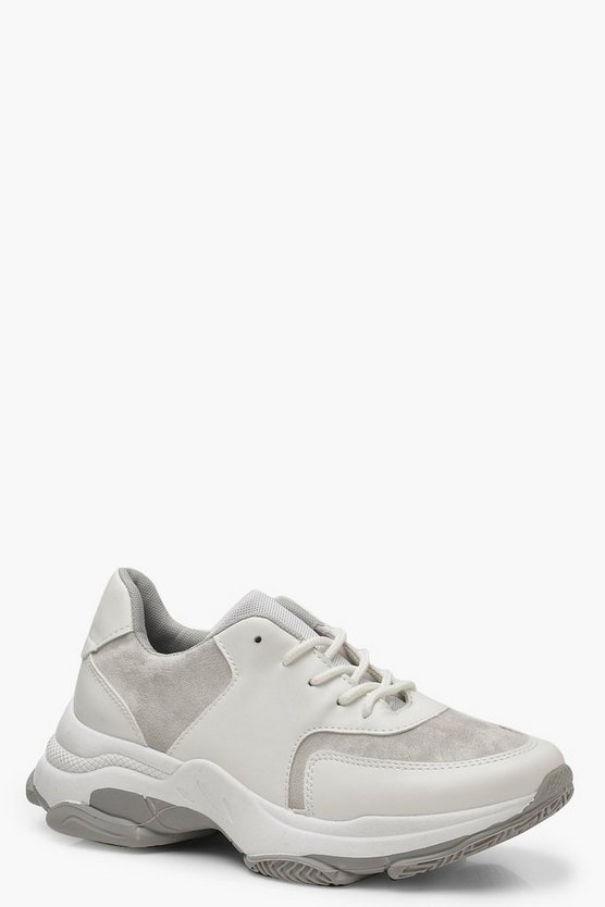 Womens Grey Chunky Sole Lace Up Trainers