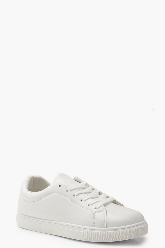 Womens White Lace Up Flat Sneakers