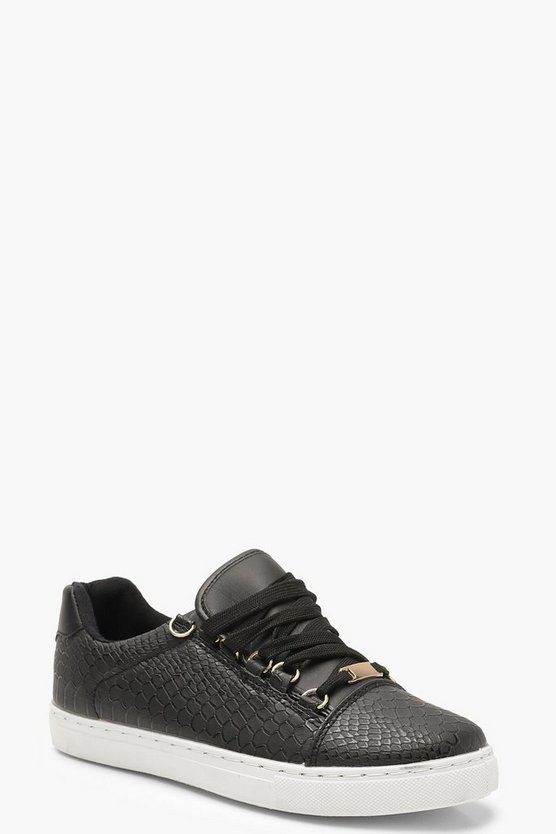 Black Croc Lace Up Flat Trainers