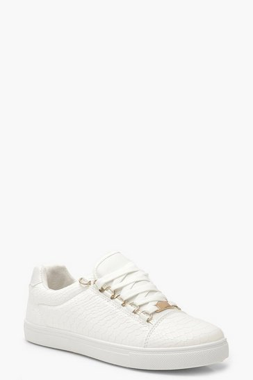 Womens White Croc Lace Up Flat Trainers