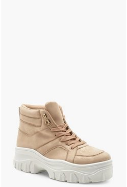 Womens Blush Lace Up Chunky High Top Sneakers
