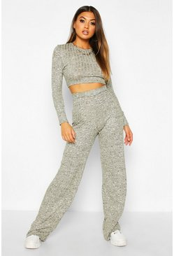 Khaki Rib Cropped Top &  Trouser Co-ord Set
