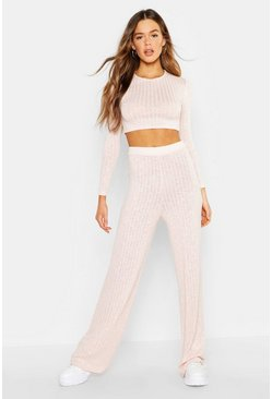 Womens Soft pink Rib Funnel Neck Cropped Top & Pants Co-Ord