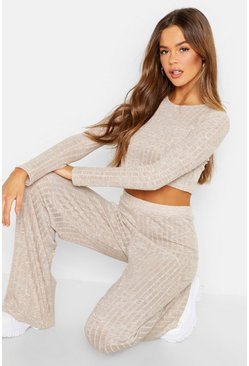Stone Rib Cropped Top &  Trouser Co-ord Set
