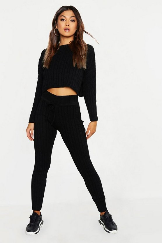 Womens Black Cable Knit Oversized Jumper & Legging Co-ord