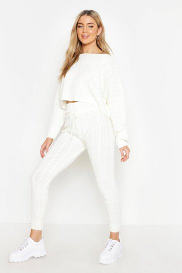 Womens Cream Cable Knit Oversized Jumper & Legging Co-ord