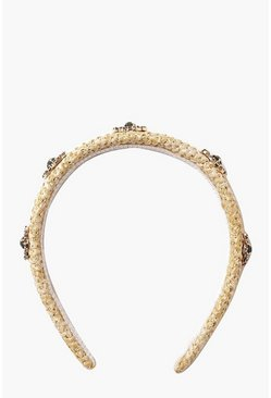 Natural Embellished Straw Headband