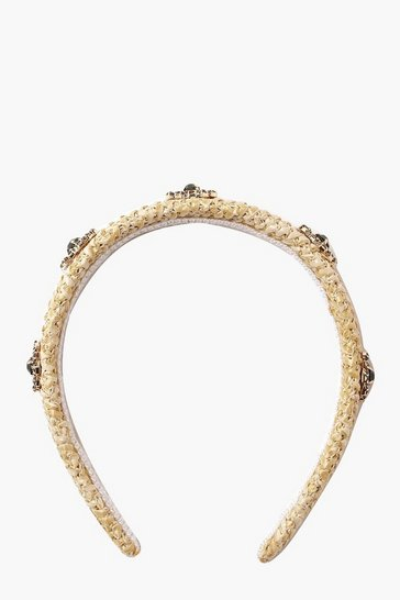 Womens Natural Embellished Straw Headband