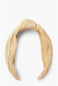 Womens Natural Straw Knot Top Headband