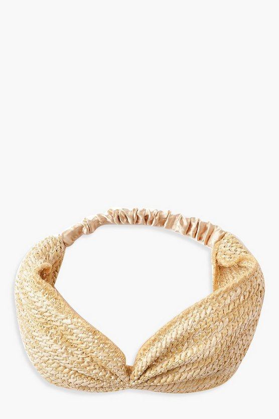 Womens Natural Straw Twist Knot Headband