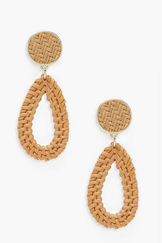 Teardrop Woven Raffia Earrings
