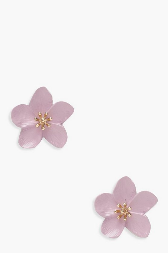 Womens Pale pink Flower Stud Earrings