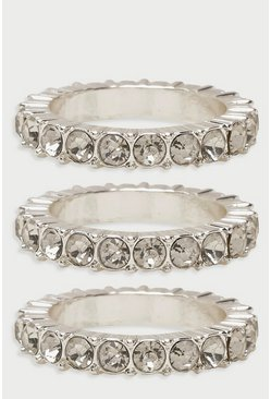 Silver Diamante Statement Ring Pack
