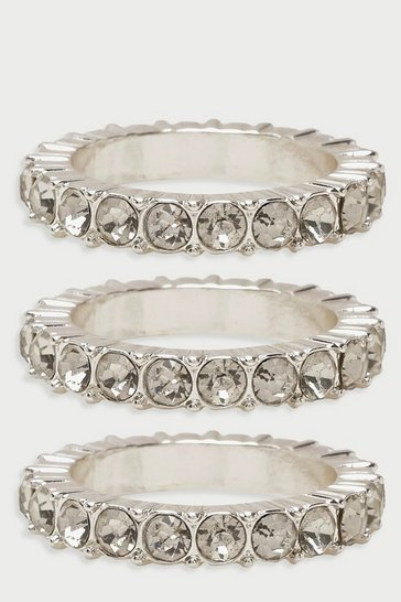 Womens Silver Diamante Statement Ring Pack
