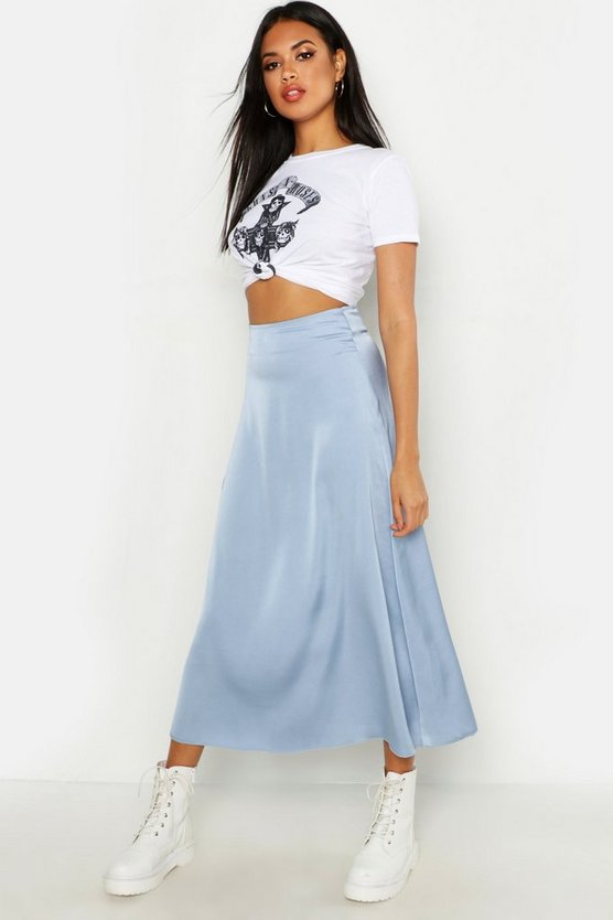 Satin Bias Cut Slip Midi Skirt