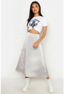 Womens Grey Satin Bias Cut Slip Midi Skirt