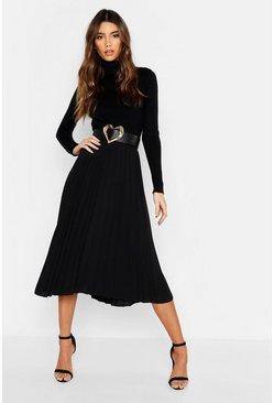 Womens Black Pleated Midi Skirt