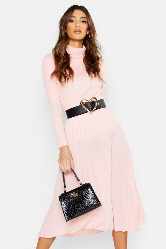 Womens Pink Pleated Midi Skirt