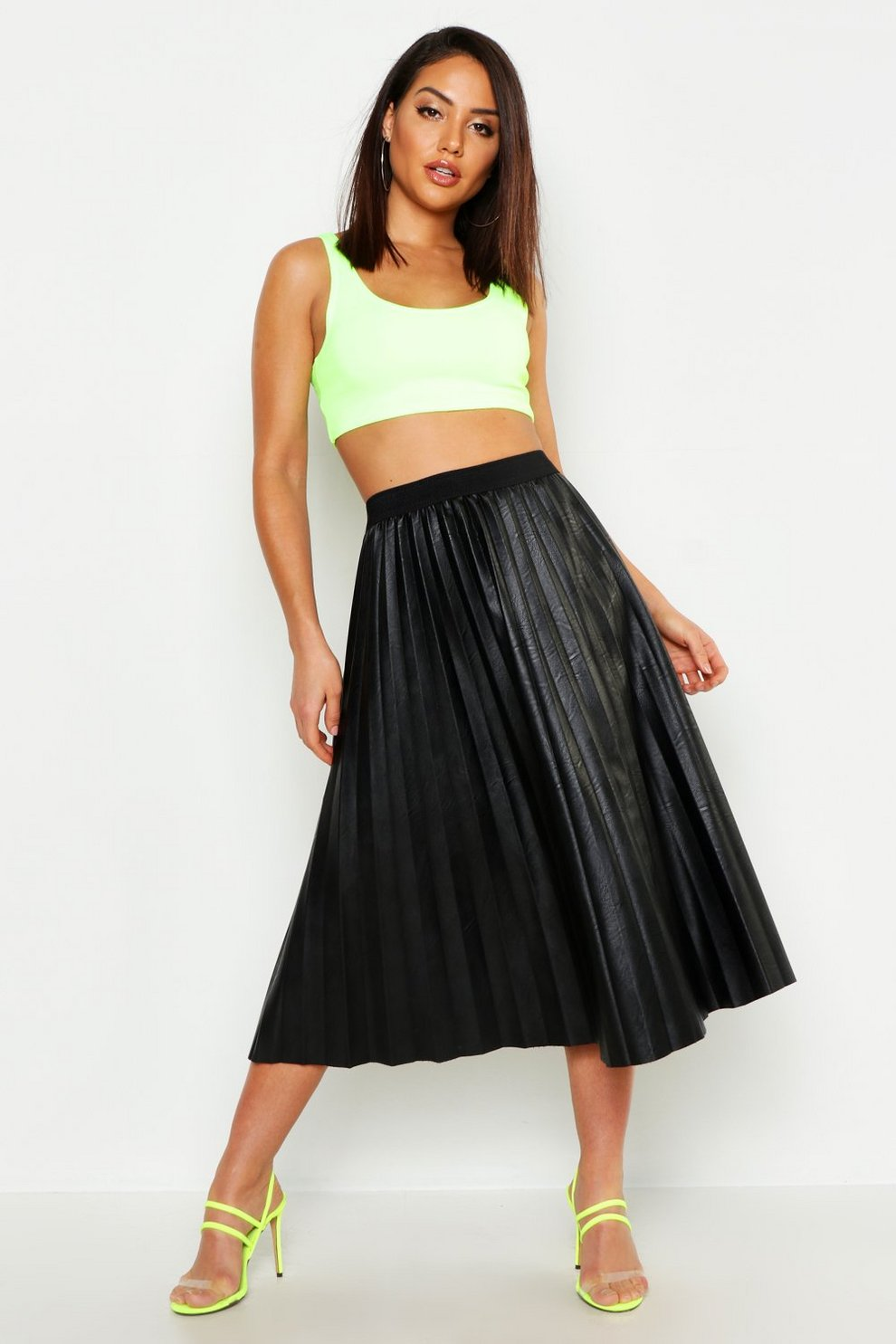 84dbcf1ca Womens Black Faux Leather Pleated Skirt. Hover to zoom
