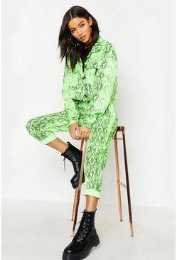 Womens Neon-green Neon Shake Slim Fit Pants