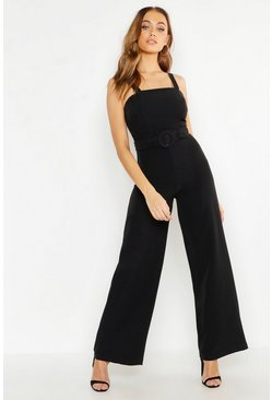 Womens Black Highwaist Belted Wide Leg Pants