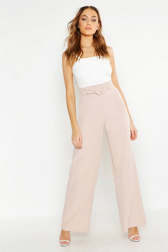 Womens Rose Highwaist Belted Wide Leg Trouser