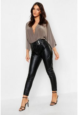 Womens Black Faux Leather Belted Trouser