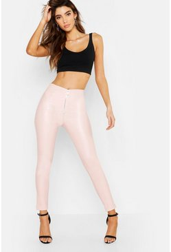 Womens Pink Pu Leather Look Zip Front Skinny Pants