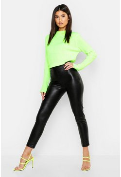 Womens Black PU Leather Look Skinny Trousers