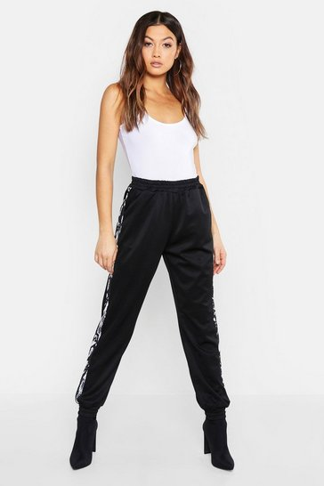 Womens Black Snake Panel Woven Jogger