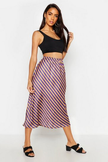 Womens Purple Striped Satin Midi Skirt