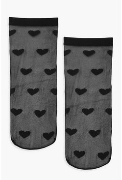 Dam Black Mesh Love Heart Socks