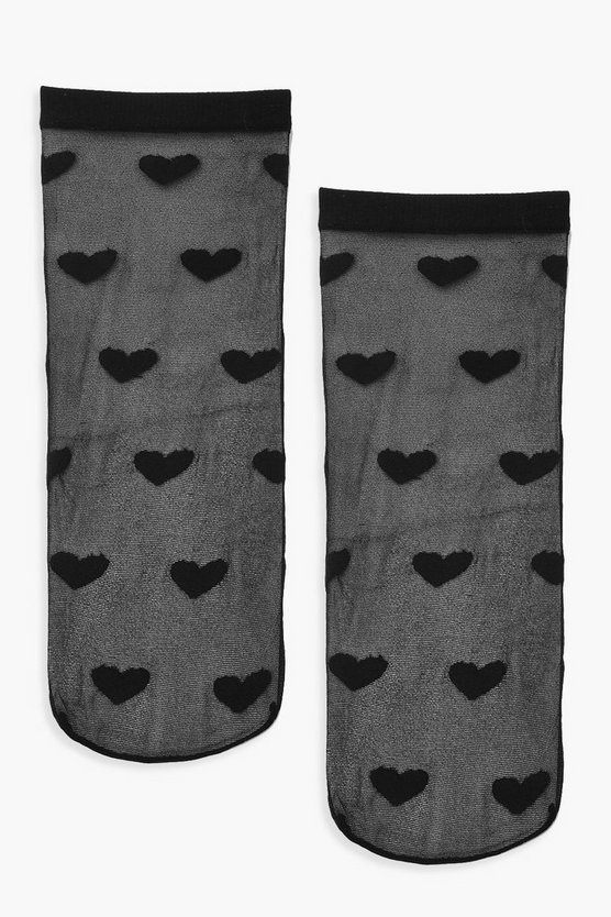 Womens Black Mesh Love Heart Socks
