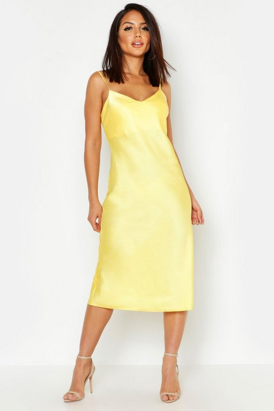 Womens Yellow Satin Midi Slip Dress