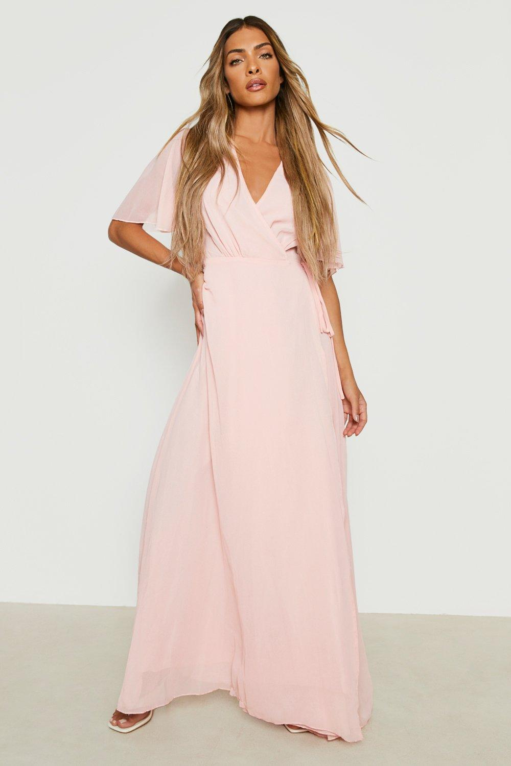 70s Prom, Formal, Evening, Party Dresses Womens Chiffon Angel Sleeve Wrap Maxi Bridesmaid Dress - Pink - 10 $28.00 AT vintagedancer.com