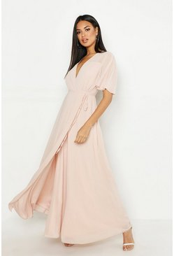 Blush Chiffon Angel Sleeve Maxi Dress