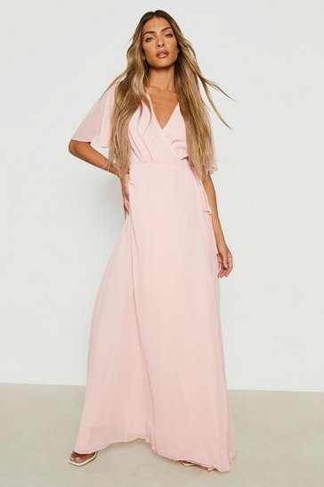 Blush Chiffon Angel Sleeve Wrap Maxi Bridesmaid Dress