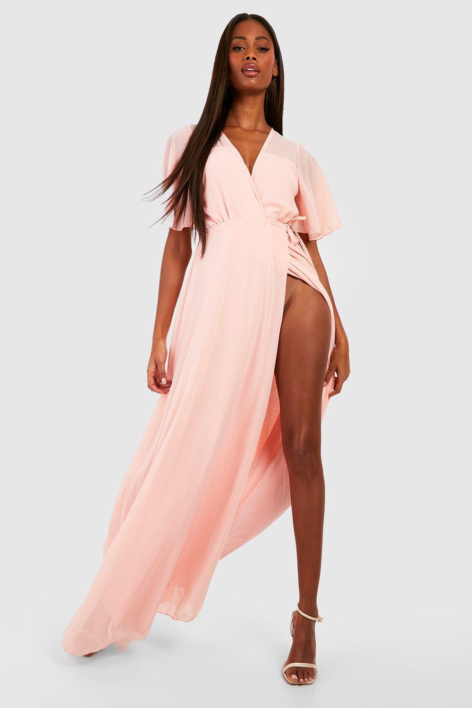 9219a7fa28 Chiffon Angel Sleeve Maxi Dress | Boohoo