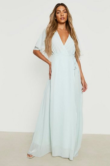 Mint Chiffon Angel Sleeve Wrap Maxi Bridesmaid Dress