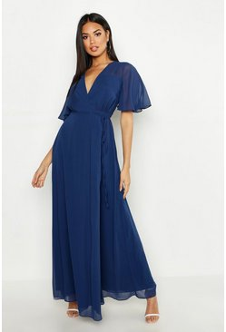 Womens Navy Chiffon Angel Sleeve Maxi Dress